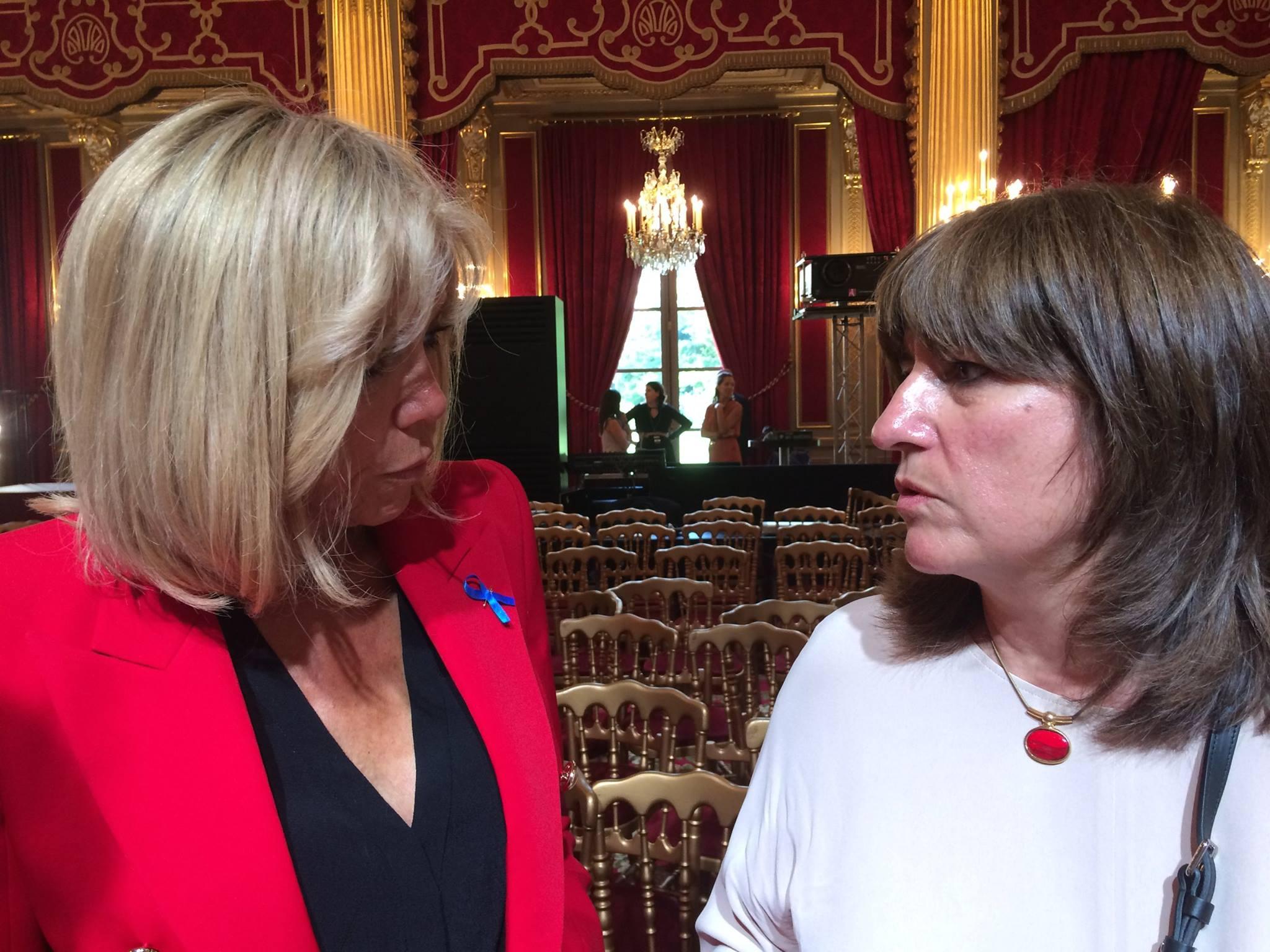 Madame Brigitte Macron et Madame Christine Meignien au Palais de l'Elysée